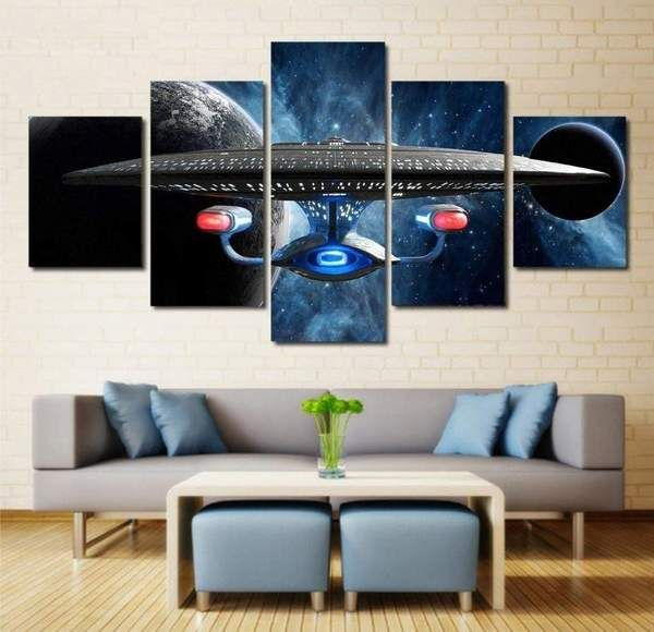 Star Trek Wall Art Canvas Painting Wall Art Star Trek Painting On Canvas Framed Home Decor Uss Ente Star Trek Wall Art Wall Art Canvas Painting Movie Wall Art