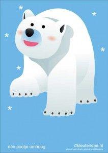 Bewegingskaarten ijsbeer voor kleuters 2, één pootje omhoog, kleuteridee.nl, thema Noorpool, Movementcards for preschool,  free printable.