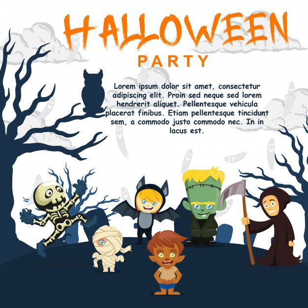 Halloween Party Invitation Template Cute Kids Character Premium Vector