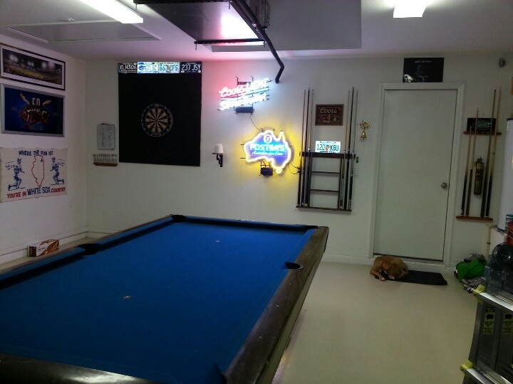 Man cave garage converted to a gym