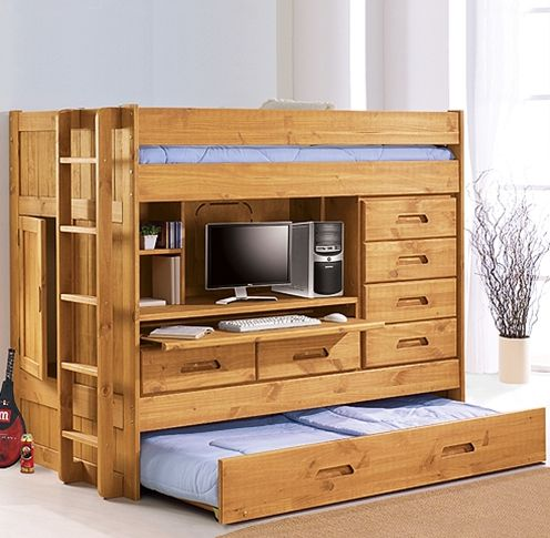 """Sophisticated """"box"""" bunk/storage solution for a small room has bunk on top of desk/storage area with pull-out trundle bed at the bottom / squidoo.com"""