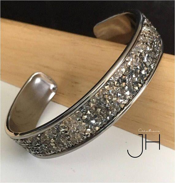 Bracelet jonc cristaux Swarovski / Jonc laiton galvanisé