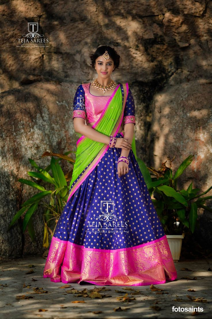 Sampradaya - 013Stay Classy... Beautiful royal blue color lehenga with pink color big boarder and butti all over the lehenga. Blouse with pink color pattu and sleeves with royal blue color pattu. Lehenga and blouse with parrot green color net dupatta.Team who worked Model/Actress - Pujita Ponnada.  Images- Fotosaints.  JC: M Bajranglal Jewellers  contact for jewellery 9908390000For orders/queries Call/ whats app on8341382382 orMail tejasarees@yahoo.com 18 January 2018