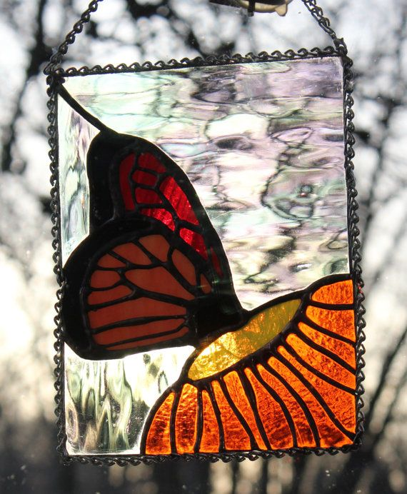 Stained glass suncatcher monarch butterfly by for Butterfly stained glass craft