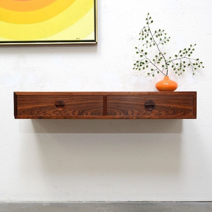 danish modern rosewood floating entry console table credenza shelf mid century