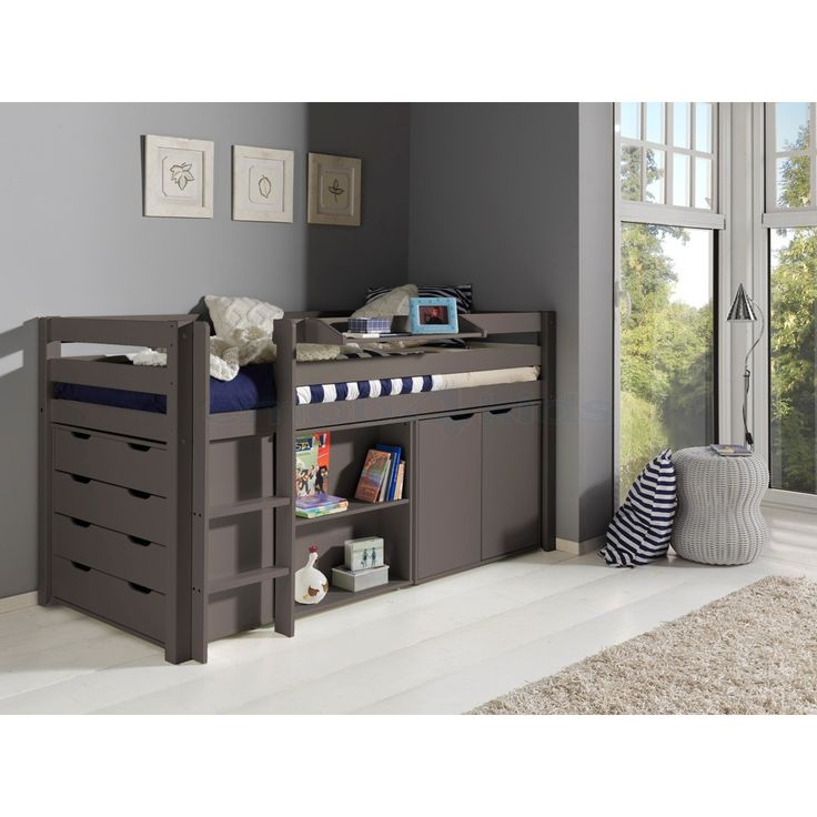 halfhoogslaper charlotte met bureau taupe liz nieuwe. Black Bedroom Furniture Sets. Home Design Ideas