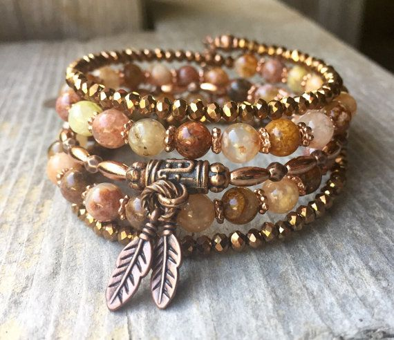 Two Tone Copper & Flower Agate Gemstone Multi Coil Memory Wire Bracelet With Feather Charms