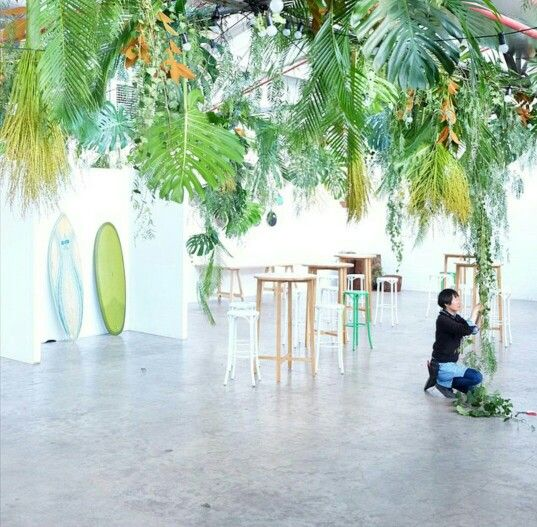 Hanging jungle installation by Loose Leaf