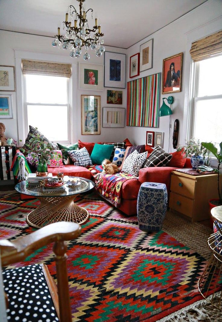 Textiles étnicos en el salón