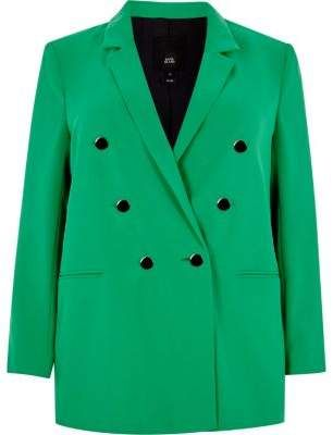 River Island Womens Plus green double breasted ruched blazer ... 1fdc100196d85