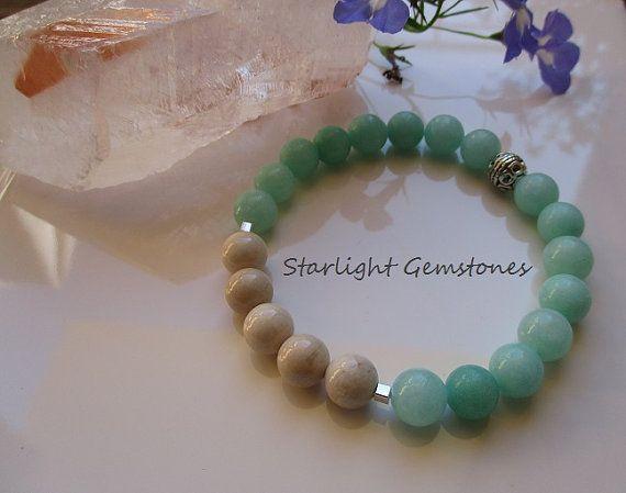 Mint Jade with Ivory Fossil Stone Gemstone Stretch Bracelet.