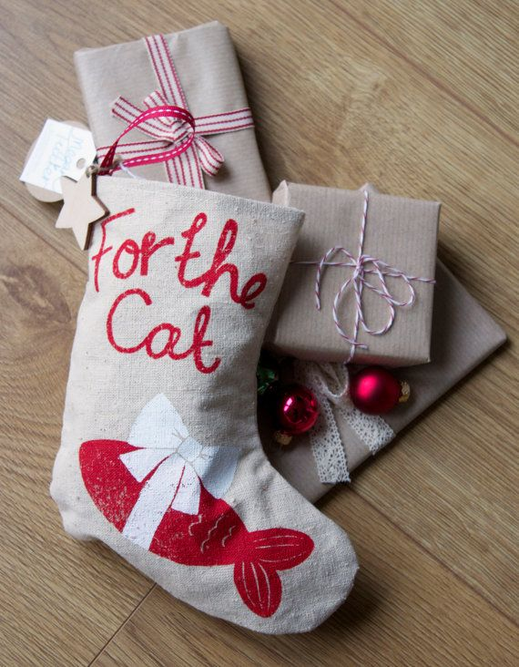 "Christmas Pet Stocking for a Cat.""For the Cat"". Screen Printed Red & White Christmas Stocking. Fish. Family pet Christmas Gift. Kitten gift...."