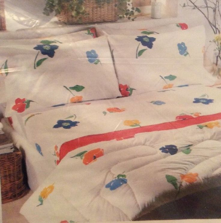 Vtg Martex Twin Sheet Set Cut Flowers Mod Look Fitted Flat 2 Pillowcase No  Iron