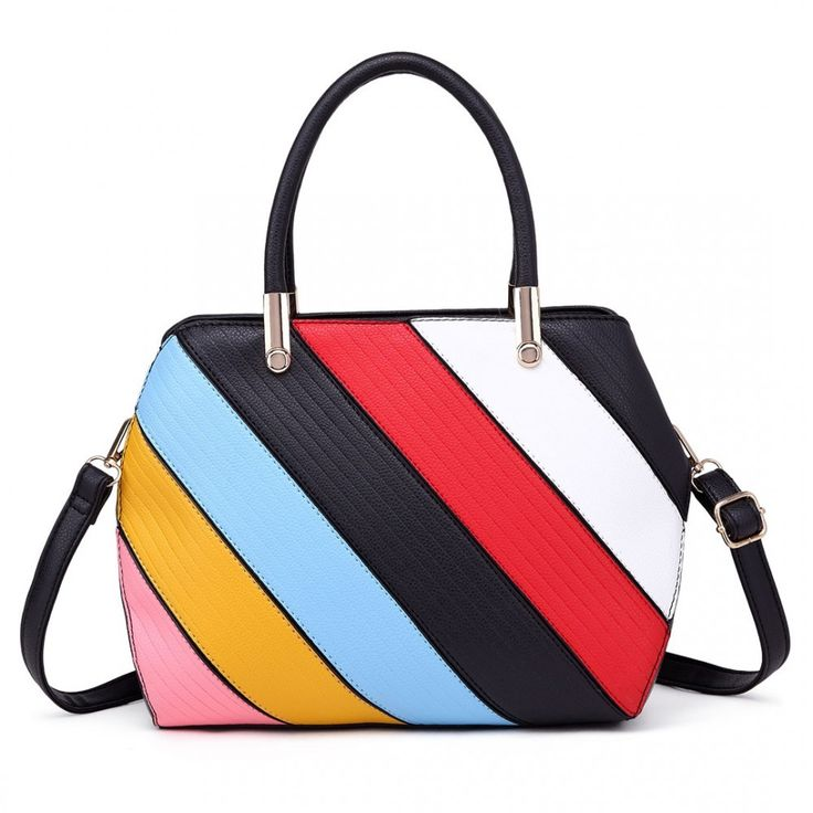 MISS LULU MULTI COLOUR STRIPE SHOULDER BAG