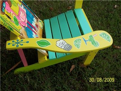 tropical painted furniture. tropical adirondack chair handcrafted hand painted margarita flamingo beach furniture