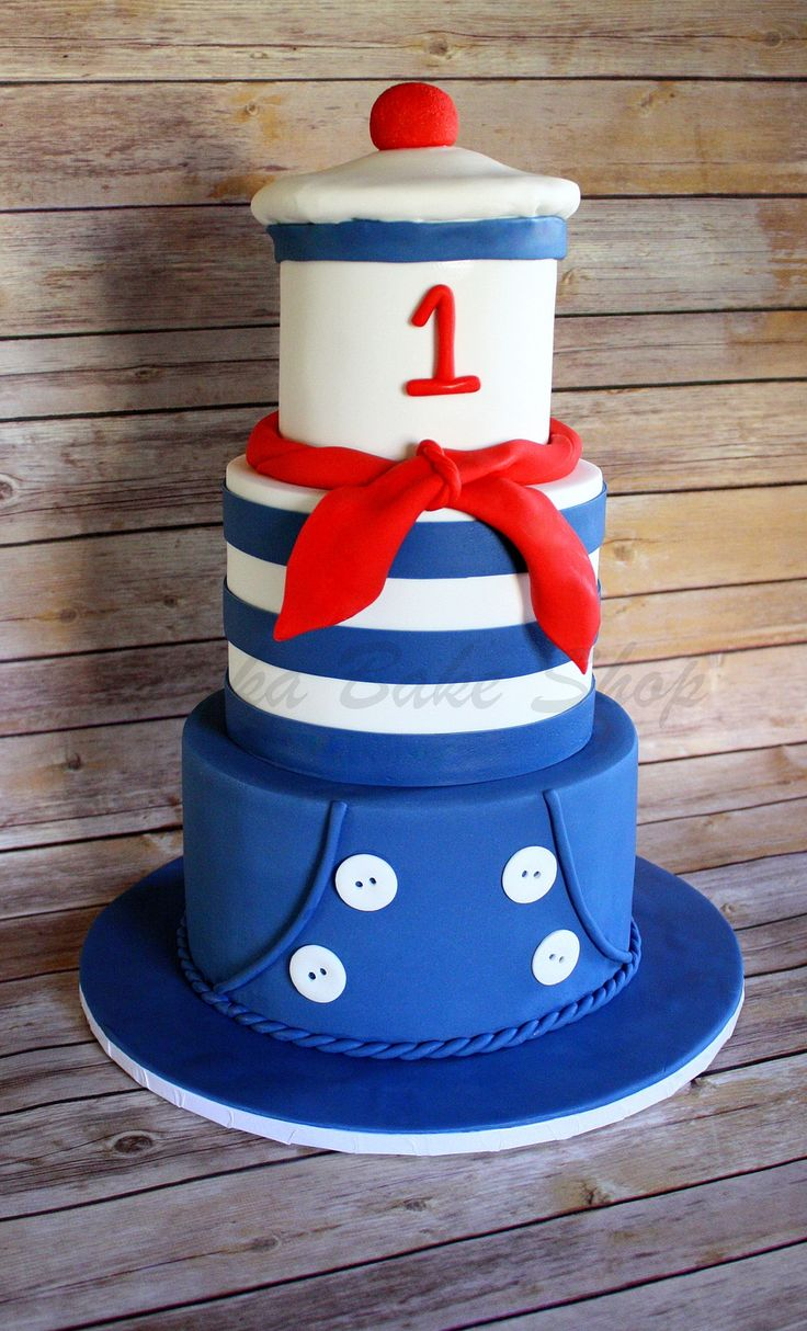 "French Sailor Cutie French Sailor Cutie French sailor theme cake: 9"" tier dressed with sailor pant; 7"" striped sailor ""tee"" tier topped..."