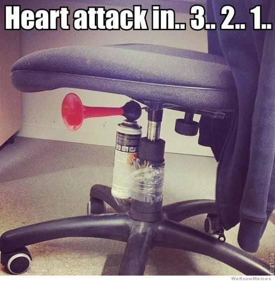 Heart attack in  3 2 1 Hilarious to do to a teacher even though you would get suspended