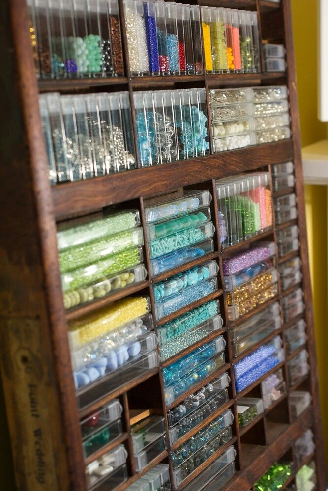 I absolutely love printer's trays for bead storage! This is one of three in my jewelry studio.