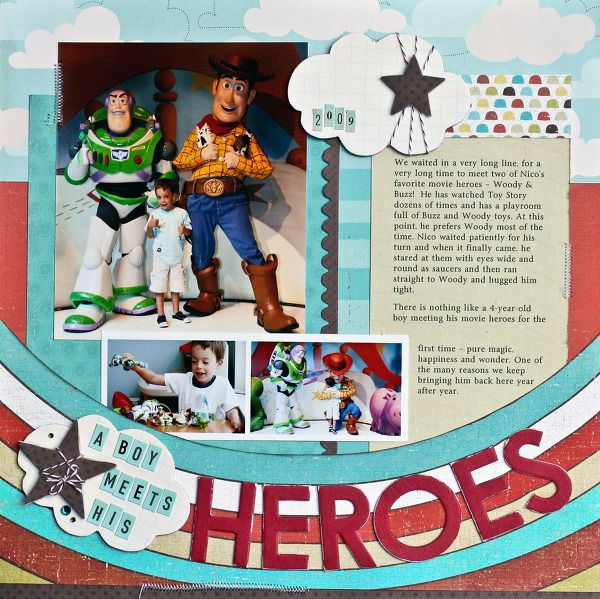 A Project by NancyDamiano from our Scrapbooking Gallery originally submitted 03/11/10 at 09:47 AMScrapbook Ideas, Scrapbook Disney, Boys Meeting, Disney Layout, Gallery Originals, Disney Heroes, Scrapbook Layout, Disney Scrapbook, Scrapbook Gallery