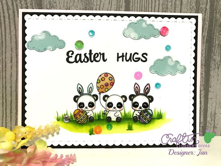 Craftin Desert Divas - Panda Holidays, Bunny Trail, Wishful Thought stamps.  Scene Builder and Fancy Frame dies  #eastercards