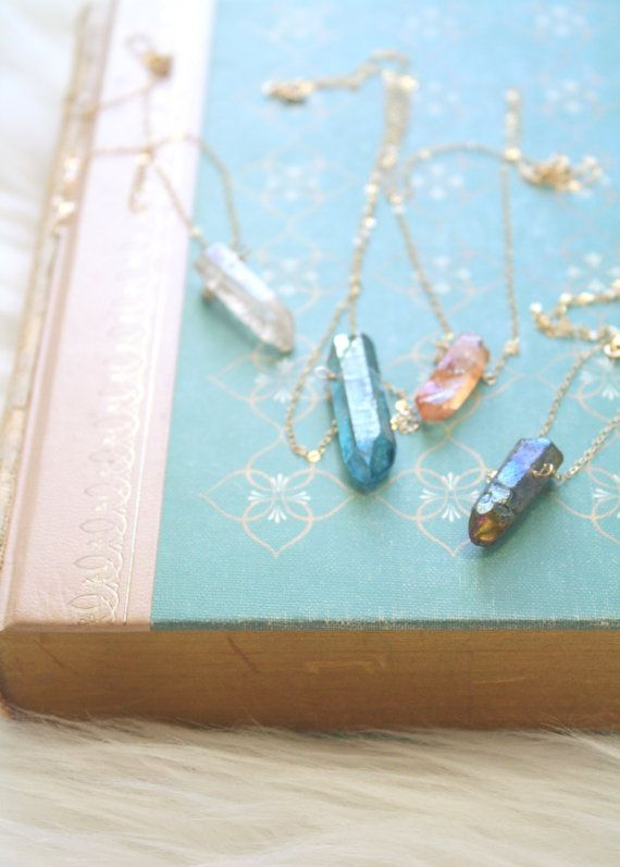 Clarity, Blue Quartz Crystal Necklace Gold Filled by EclecticOrchid on Etsy