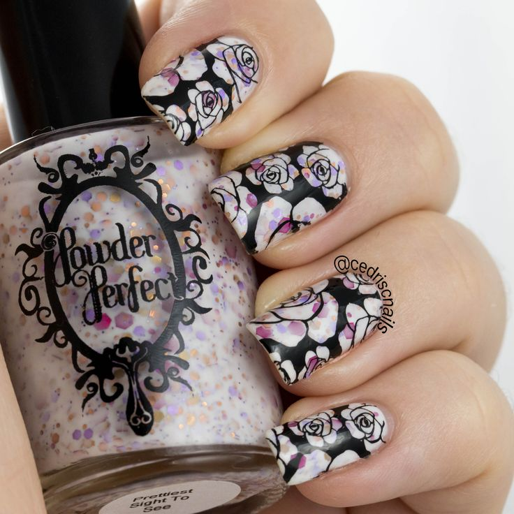 Polish is Prettiest sight to see by Powder Perfect, stamped with an image from UberChic beauty plate 1-02 and Mundo de unas black stamping polish.