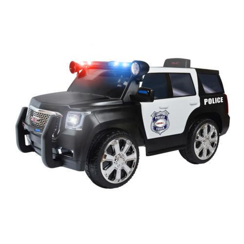 Kid's Police Ride On Toy Battery Operated Power Wheels Riding Electric Car Suv #rollplay