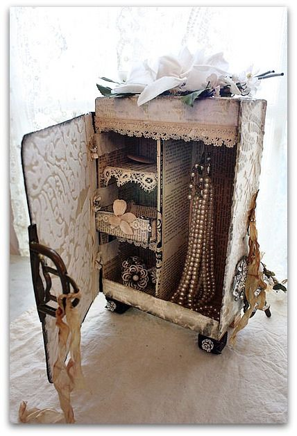 Just beside myself-today I found a box just like this to alter but all the drawers were in-tact at the thrift store.  I want to do this and send it to a special friend!