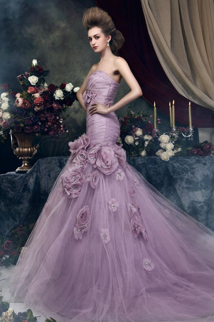 Brilliant Trumpet Mermaid Strapless Chapel Train Flowers Angerika S Color Wedding Dress This Purple Has Fine Asymmetric Ruching That