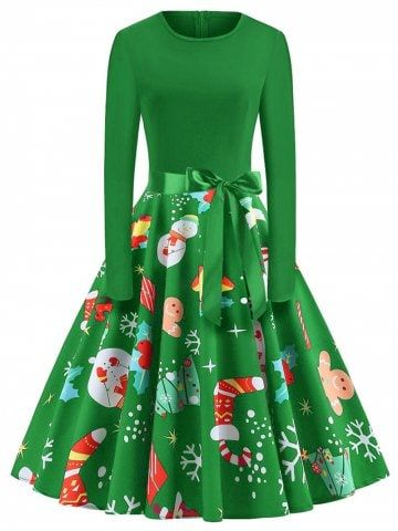 353f88109adf Plus Size Vintage Long Sleeves Christmas Graphic Dress - GREEN - 4X ...