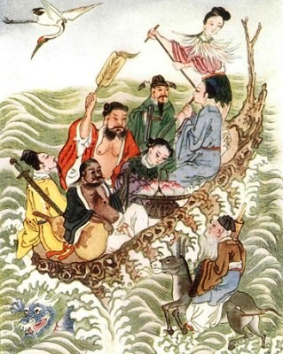 Li Xuan, or Iron Crutch, was taught the secret by Xi Wang Mu, Queen Mother of the West.  Li had a club foot and Xi presented him with an iron crutch.  Li taught the Way to Zhong-li Quan who became the messanger of heaven.