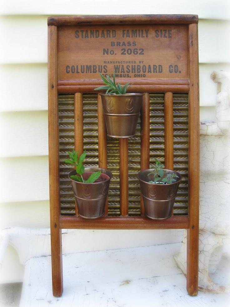 Vertical Planter Repurposed Vintage Washboard Hanging