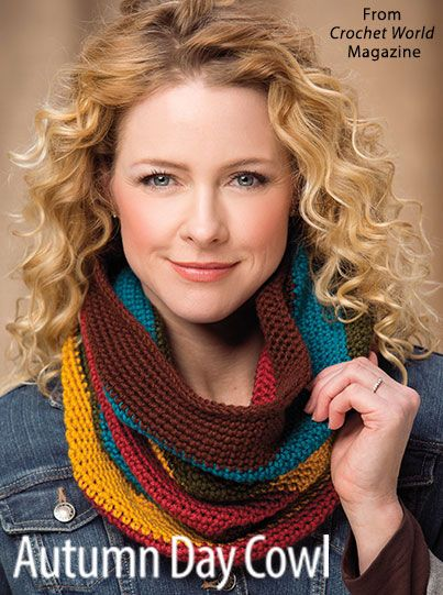 Autumn Day Cowl from the October 2016 issue of Crochet World Magazine. Order a digital copy here: https://www.anniescatalog.com/detail.html?prod_id=133005
