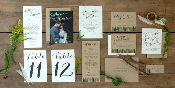 Woodsy Wedding Save the Date Rustic Intimate by JPstationery