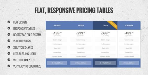 Flat, Responsive Pricing Table