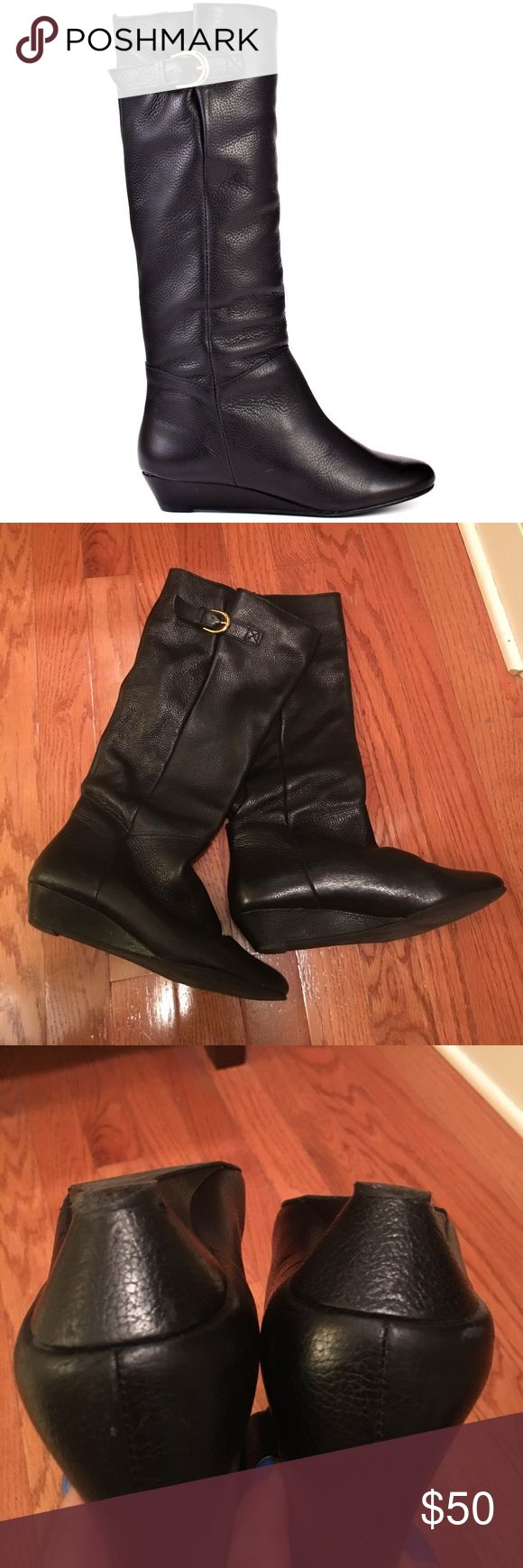 Black flat boot Steven by Steve Madden Size 7 1/2 Black Steven By Steve Madden Intyce flat leather boot with gold buckle. Worn one winter season...pictures are accurate of wear. Still have lots of miles to be walked in! Sorry no trades...bundle and save! Steven by Steve Madden Shoes
