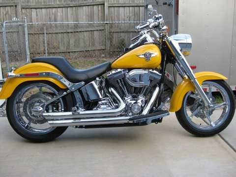 A Custom Fatboy - Harley Davidson - 2011 Chrome. Find out if this ride - wheels - unique chrome front all fits you!  Click pic for more info.