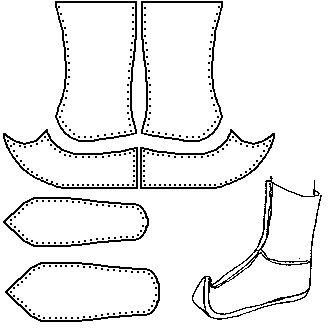 Tradicional mongol de arranque / Gutal (especulativa) no tengo ninguna fuente sólida para este diseño, que no sea el examen de fotografías. Hay una serie de diferencias de detalle entre esta interpretación y la versión que había colocado en este sitio anteriormente. De calzado de la Edad Media - Shoe Designs histórico / Número 46, por I. Marc Carlson.