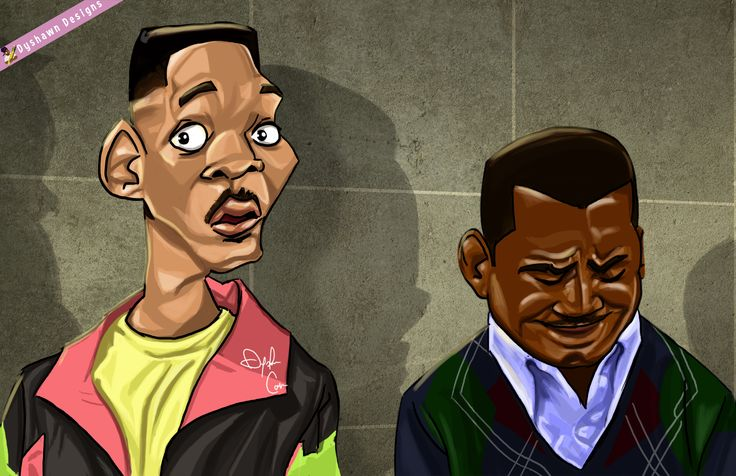 Drawing of The Fresh Prince Will Smith and Carlton Banks from the 90s tv show The Fresh Prince of Bel Air . Artist based in Miami Glorida