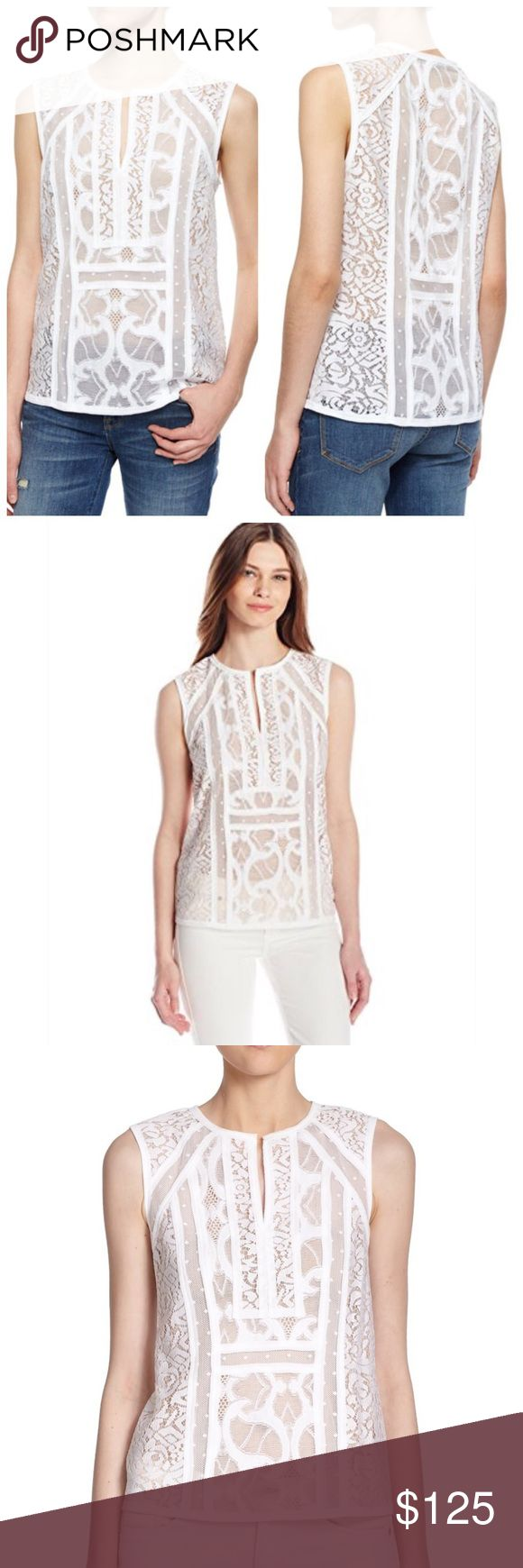 """BCBGMAXAZRIA white lace shear top xs Nwt. """"Camy"""" super cute top! Perfect all year round. Wear it with jeans, slacks or the perfect power skirt. Brand new!! Any questions please ask 😍 BCBGMaxAzria Tops Blouses"""