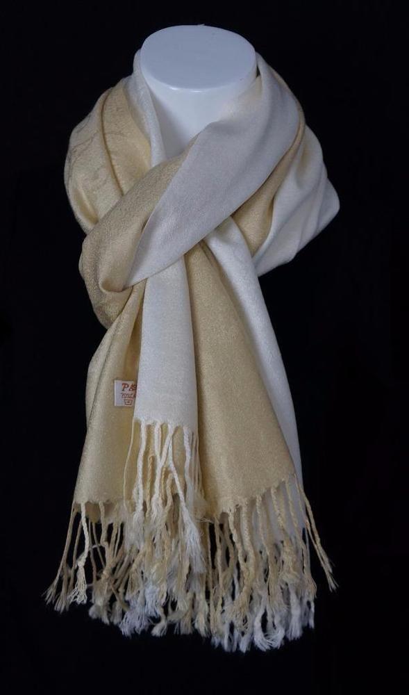 "Soft Elegant Two Tone Pashmina Cashmere Blend Scarf Fringes Edges 27""  X 68"" NWT #Grand #Pashmina"