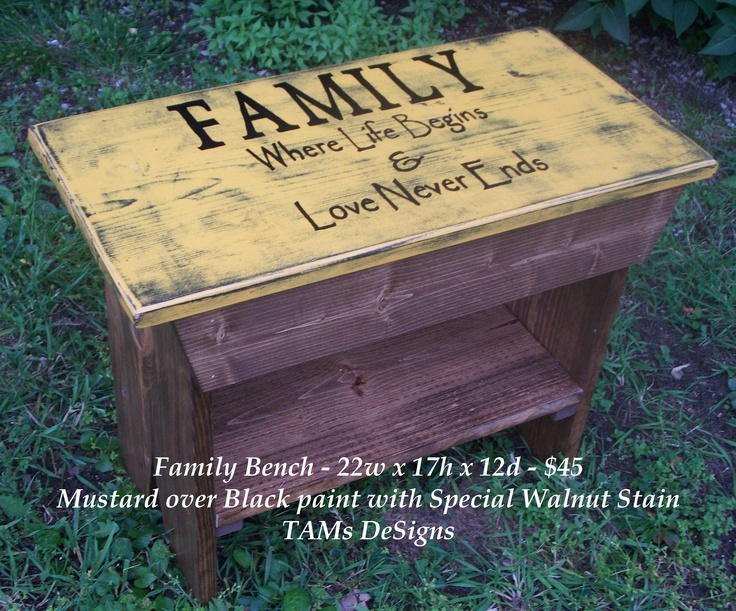 Family Bench: Diy Ideas, ღ Ƥrim Ƈrαƒts Ɗℯċ Ṛ, Painting Tips Ideas, Crafts Wedding, Nice Thoughts, House Ideas, Families Benches 3, Gardening Outdoor Stuff, Families Benches Lov