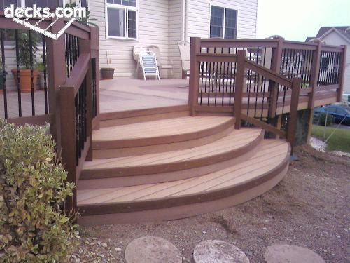 Best Curved Deck Stairs Back Yard In 2019 Deck Stairs Deck 400 x 300