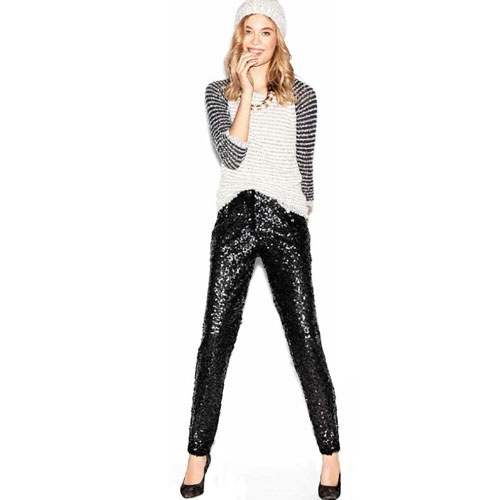 LOFT Sequin Pants: Add a little (or a lot of) sparkle to your step