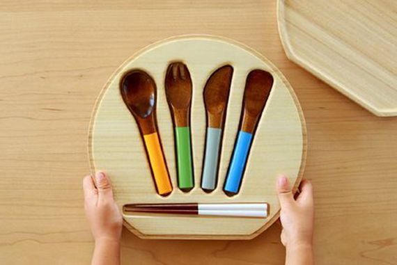 Great little kids wooden utensil set