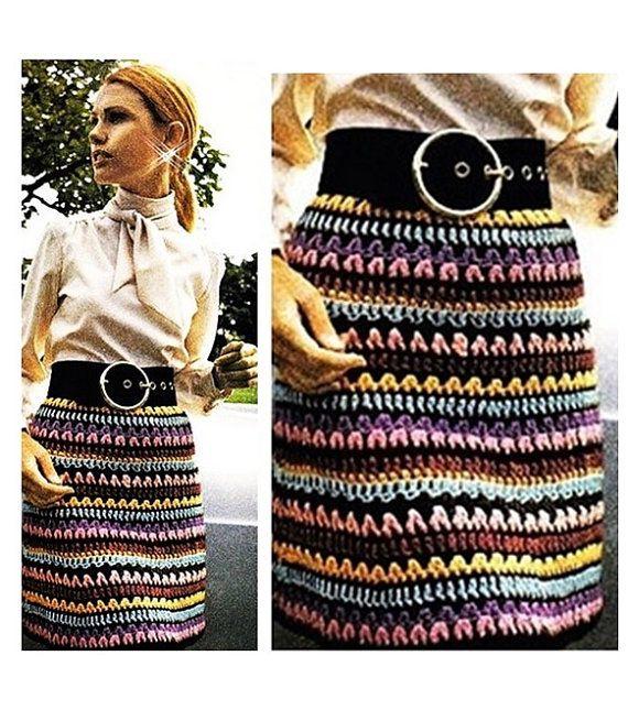 Vintage Crochet Pattern-70s Multicolored Skirt-Peasant Mini Skirt-Striped-Skirt Boho Bohemian pdf file-Digital Pattern Vtg DIY