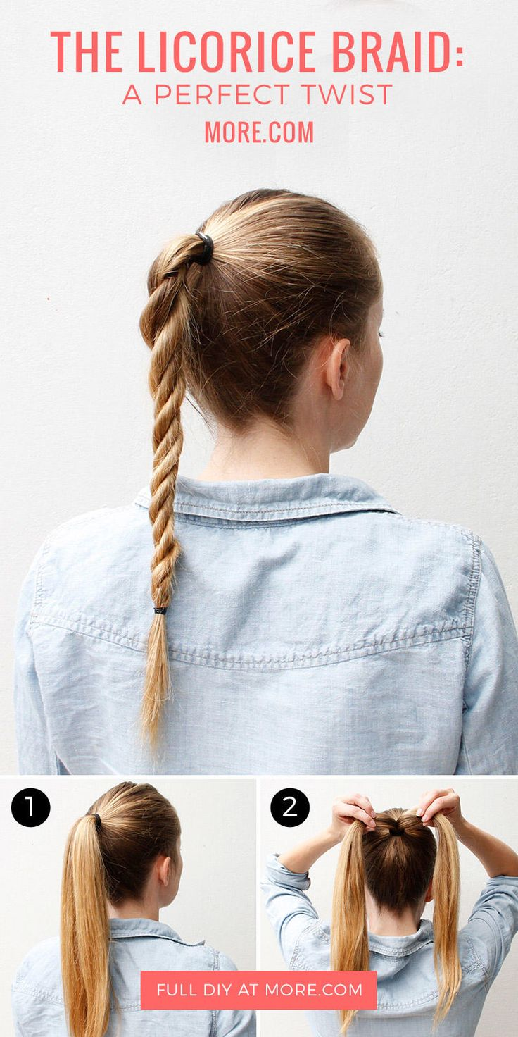The licorice braid is perfect for the days when you don't have much time but still want a fun hair look.