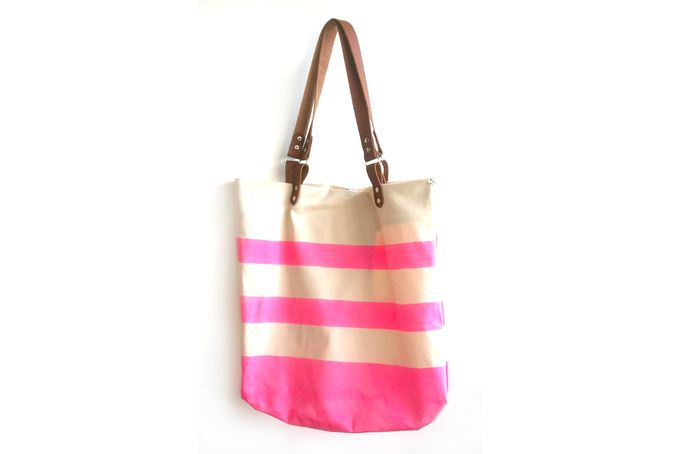 Canvas tote bag with pink beach stripes by Soet /  Soet stationery