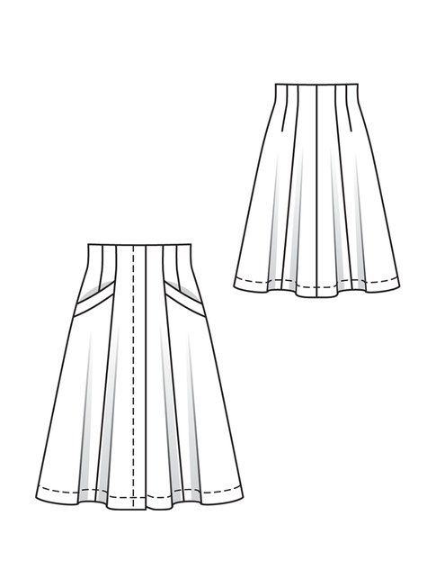 Flared Godet Skirt with Hidden Button Placket |BurdaStyle.com