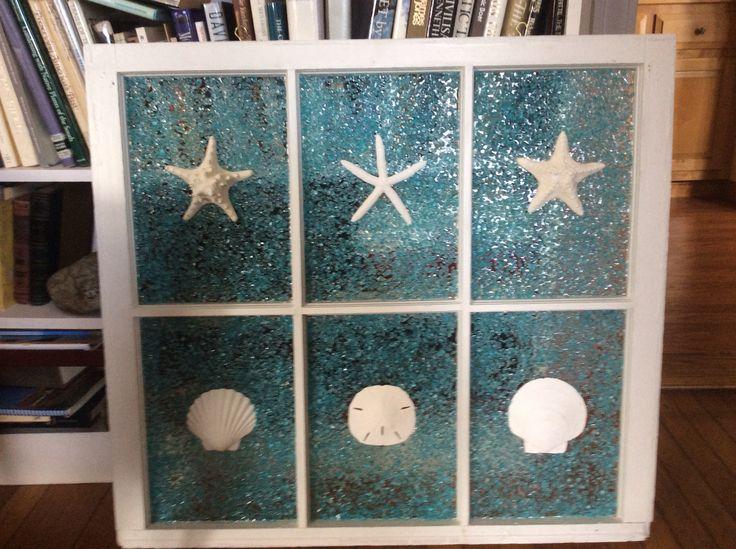 Recycled Old Window Sea Glass Art Pinterest Window